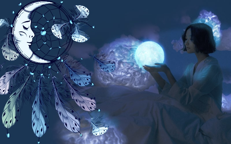 Picture of a dreamcatcher and a woman holding the moon